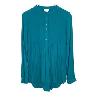 Sundance 'Mystic Falls' Teal Crinkle Top Size M